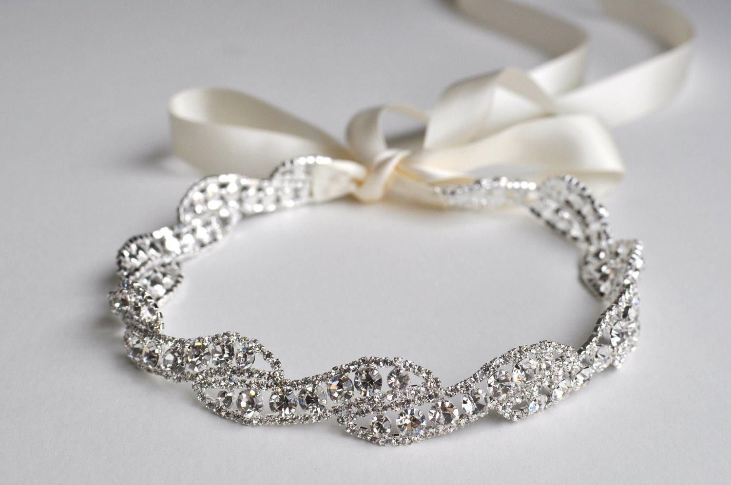 Bridal Headband with crystals and ribbon
