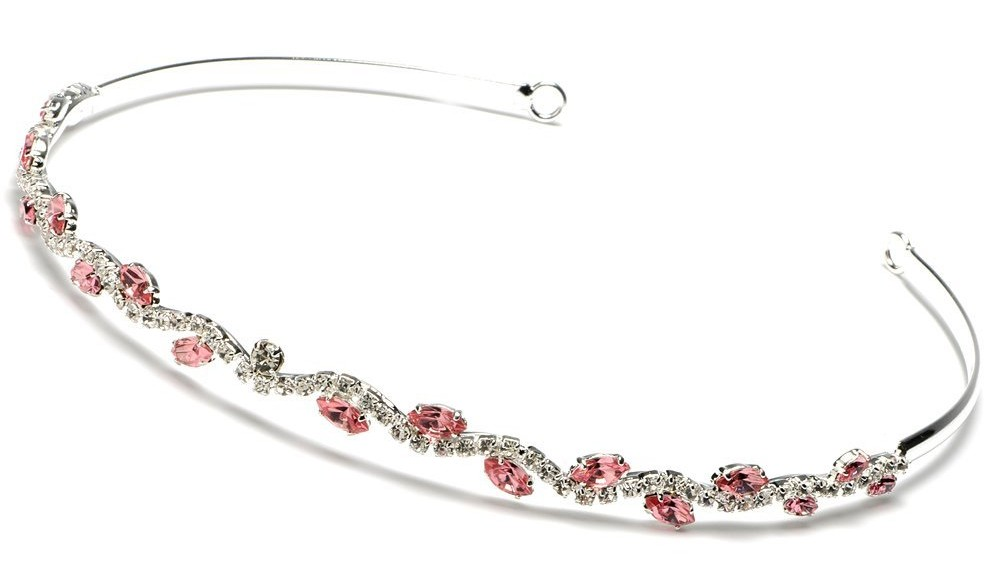 Pink Crystal Wedding Bridal Headband