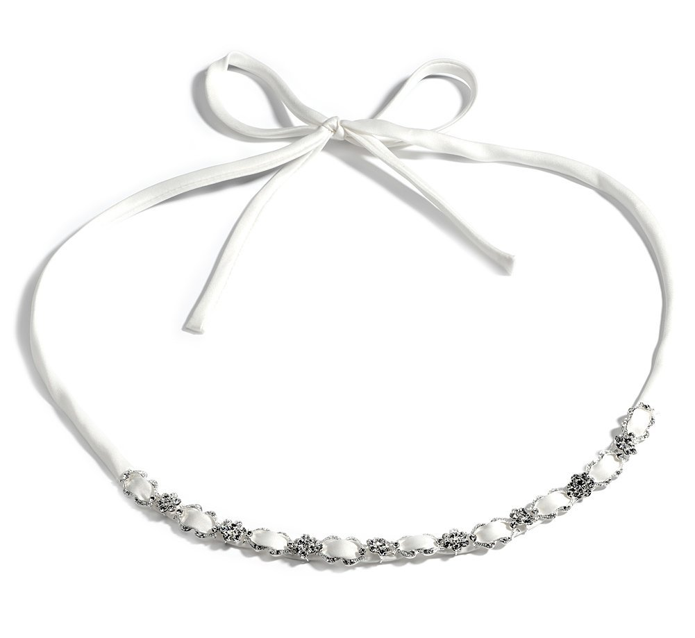 Ribbon Wedding Headband Bridal Tiara Satin & Crystal