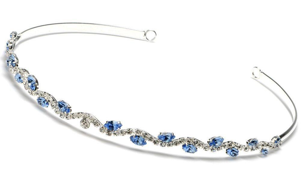 Blue Crystal Wedding Headband Bridal Tiara