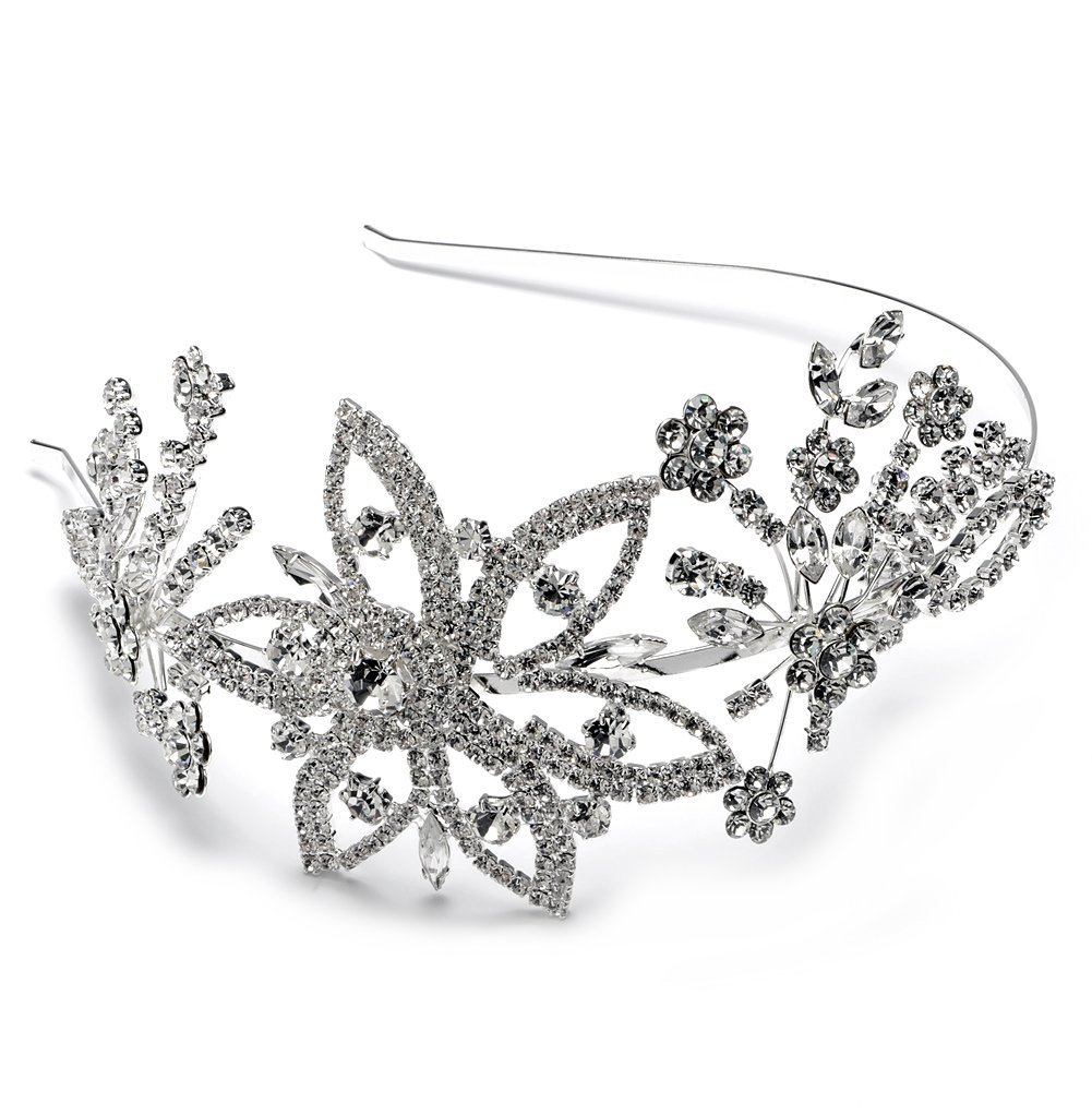 Rhinestone Floral Wedding Side Headband