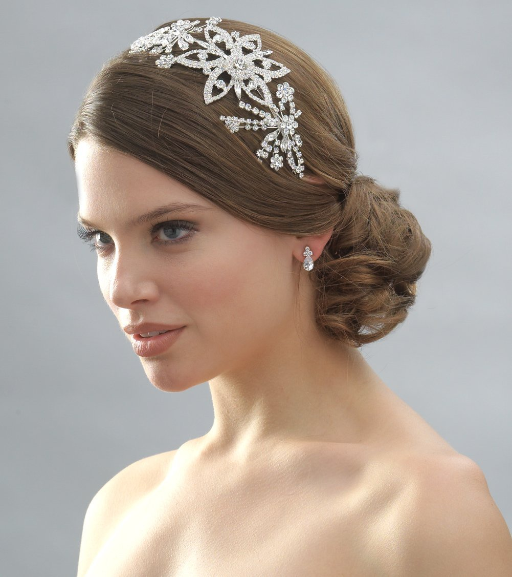 Large Floral Rhinestone Wedding Bridal Headband Side accent