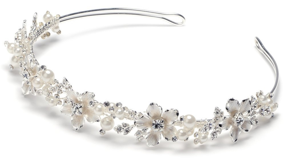 Rhinestone Wedding Floral Tiara Bridal Headband