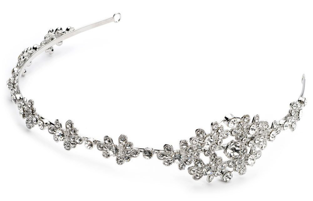 Silver-tone Rhinestone Bridal Side Headband