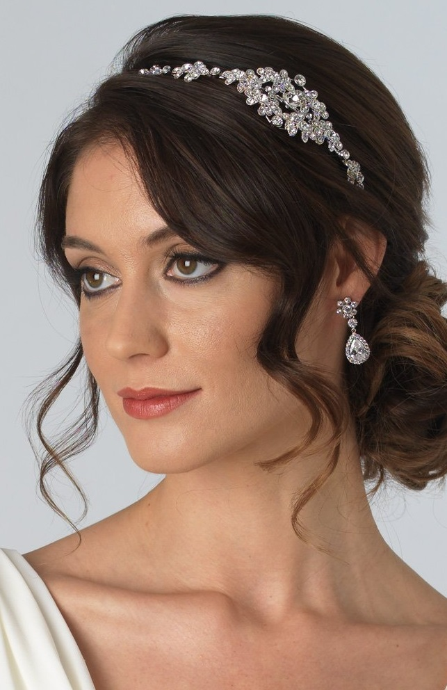 Silver-tone Rhinestone Hair Accessory, Bridal Side Headband