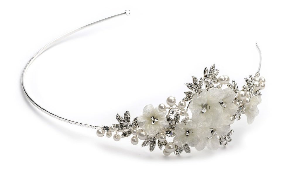 Bridal Pearl and Fabric Flower Side Headband