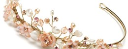 Gold and Pink Floral Bridal Headband
