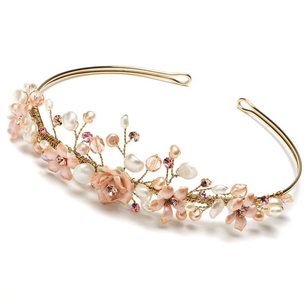 Wedding Headband Bridal Headband Gold & Pink Floral