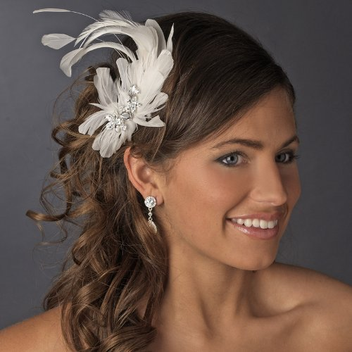 White Feather Crystal Center Bridal Wedding bridal Headband on sale