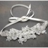 Lace wedding headband with crystals