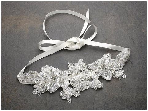 bridal headband Sculptured Ivory Lace Wedding Headband with Crystals & Beads1