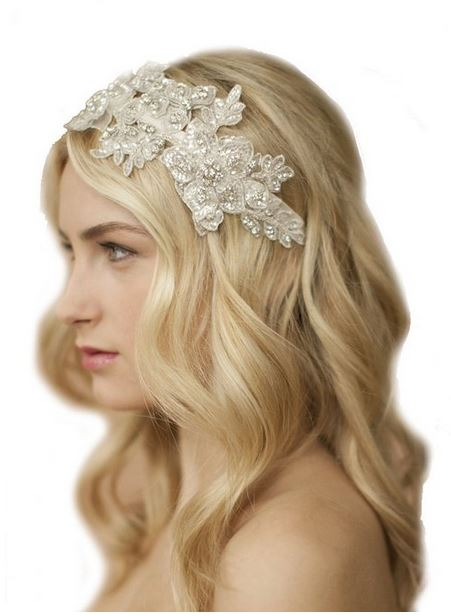 Bridal headband Sculptured Ivory Lace Wedding Headband with Crystals & Beads