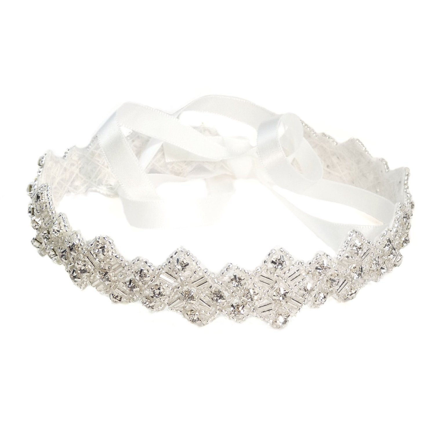 Handmade Crystals White Satin Ribbon Tie Wedding Bridal Headband on sale