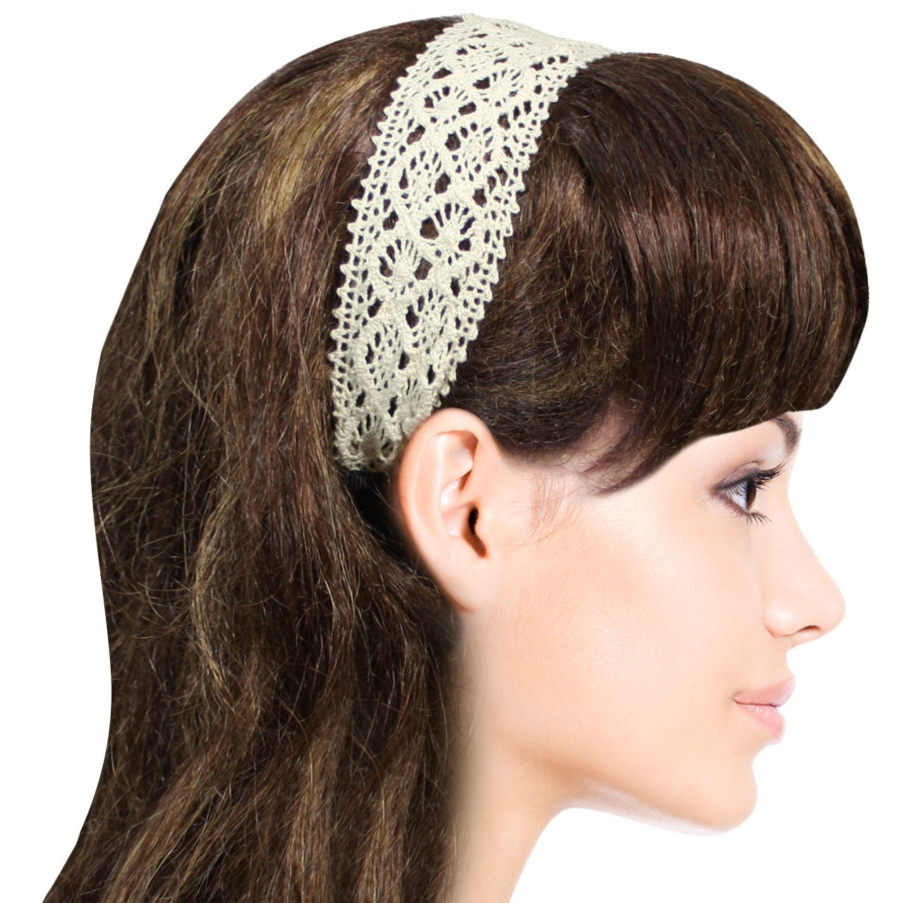 Princess Floral cream Lace Elastic bridal Headband Set of 2