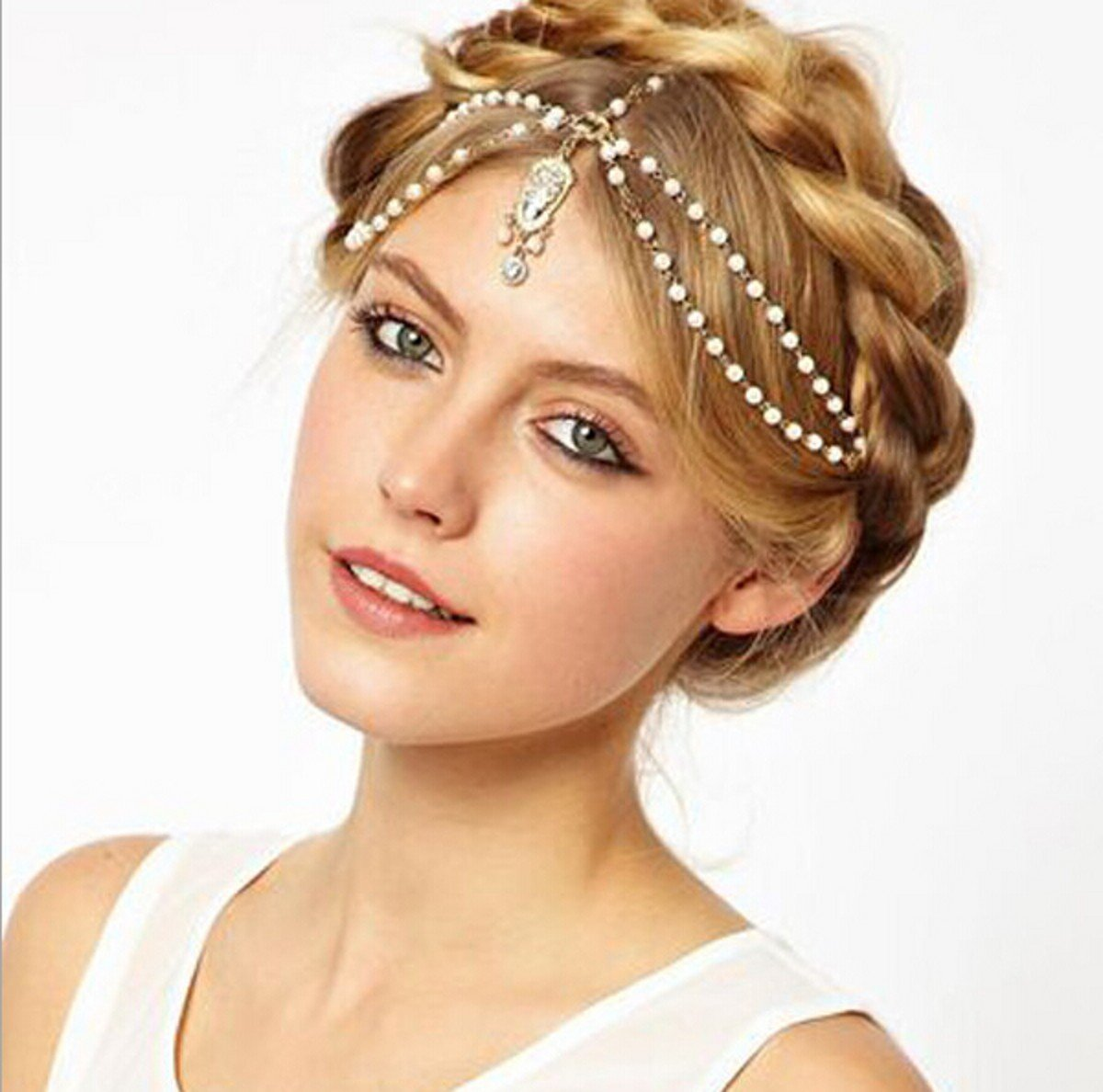 VINTAGE DECO 20s IVORY PEARL HEADBAND GREAT GATSBY WEDDING Head Chain