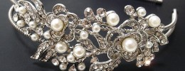 Floral design Rhinestone and Pearl Bridal Headband