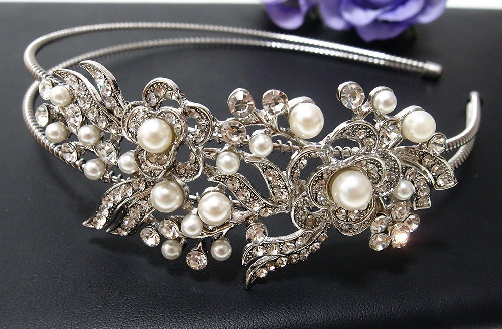 Wedding Crystal Rhinestone Pearl Bridal Headband Silver