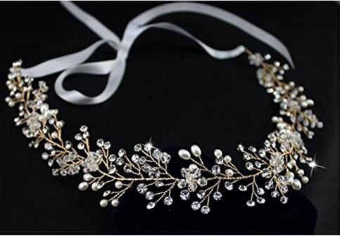 Gold Crystals Bridal Headband Wedding Headpiece