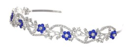 Blue Flower Crystal Bridal Headband