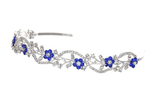 Bridal Flower Rhinestones Crystal Wedding Headband Tiara - Blue Crystal Silver Plated